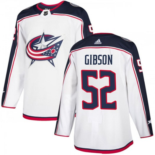Stephen Gibson Columbus Blue Jackets Men's Adidas Authentic White Away Jersey