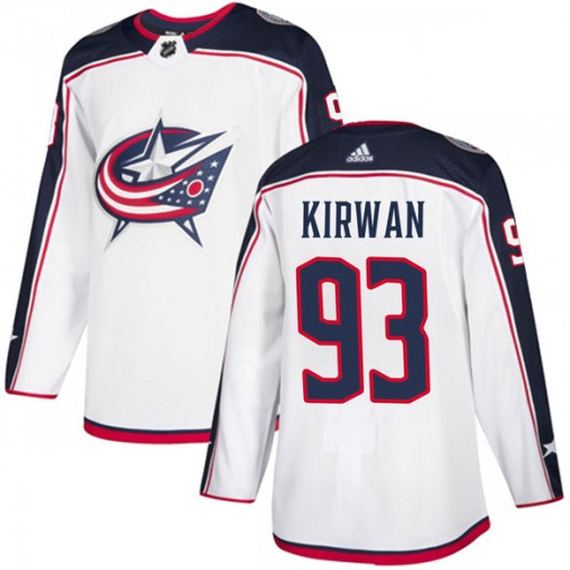 Luke Kirwan Columbus Blue Jackets Men's Adidas Authentic White Away Jersey