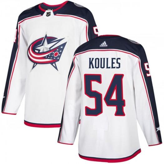 Miles Koules Columbus Blue Jackets Men's Adidas Authentic White Away Jersey