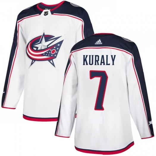 Sean Kuraly Columbus Blue Jackets Men's Adidas Authentic White Away Jersey