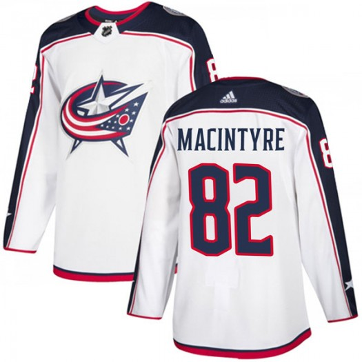 Bobby MacIntyre Columbus Blue Jackets Men's Adidas Authentic White Away Jersey