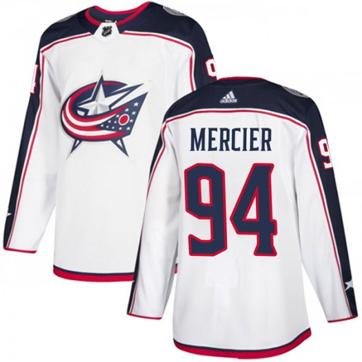 Medric Mercier Columbus Blue Jackets Men's Adidas Authentic White Away Jersey