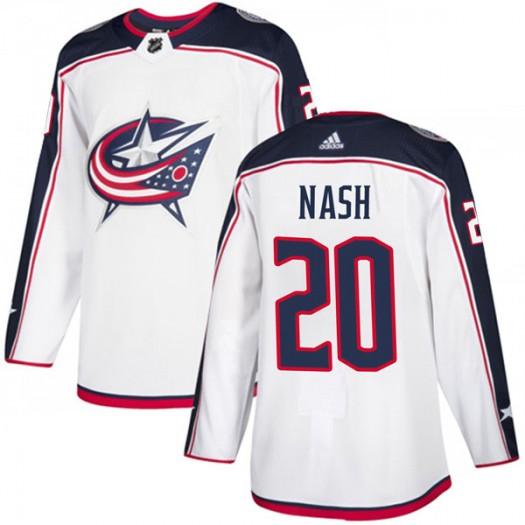 Riley Nash Columbus Blue Jackets Men's Adidas Authentic White Away Jersey