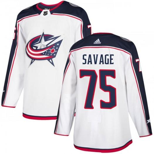 Scott Savage Columbus Blue Jackets Men's Adidas Authentic White Away Jersey