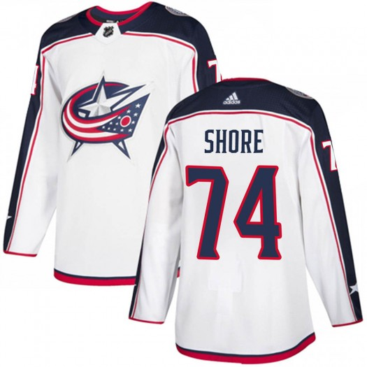 Devin Shore Columbus Blue Jackets Men's Adidas Authentic White ized Away Jersey