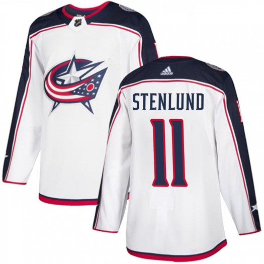 Kevin Stenlund Columbus Blue Jackets Men's Adidas Authentic White Away Jersey
