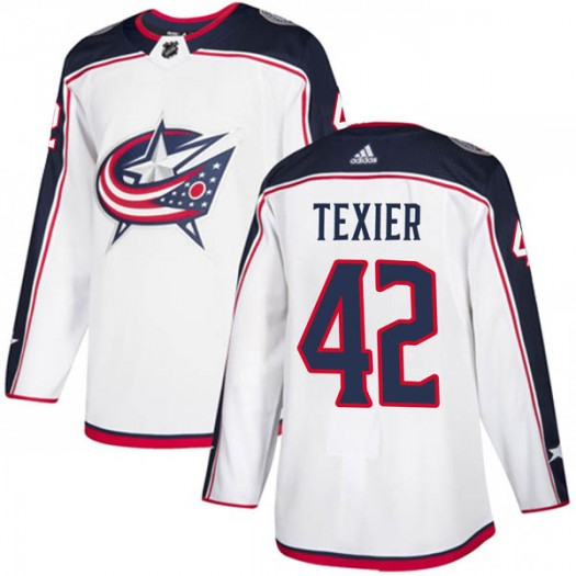 Alexandre Texier Columbus Blue Jackets Men's Adidas Authentic White Away Jersey