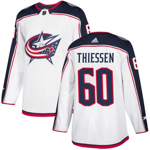 Brad Thiessen Columbus Blue Jackets Men's Adidas Authentic White Away Jersey