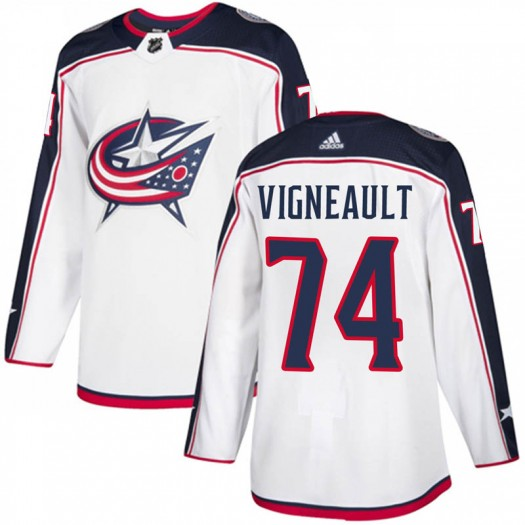 Sam Vigneault Columbus Blue Jackets Men's Adidas Authentic White Away Jersey