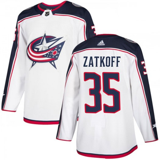 Jeff Zatkoff Columbus Blue Jackets Men's Adidas Authentic White Away Jersey