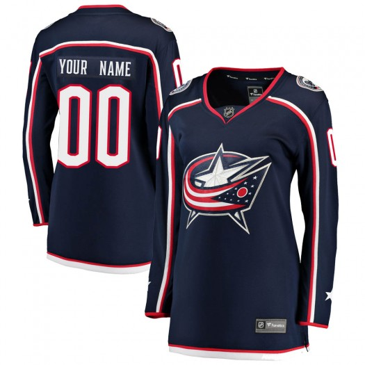 Women's Fanatics Branded Columbus Blue Jackets Customized Breakaway Navy Home Jersey