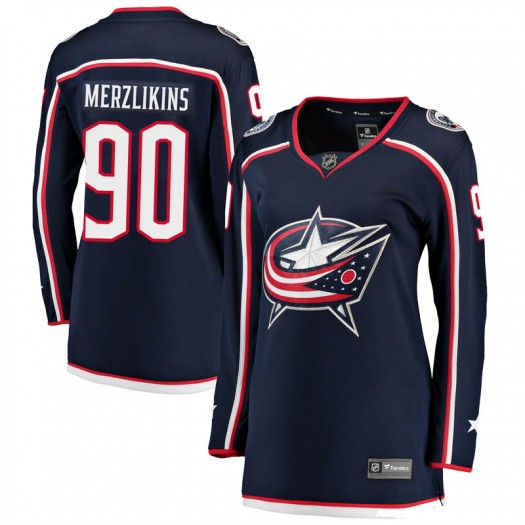 Elvis Merzlikins Columbus Blue Jackets Women's Fanatics Branded Navy Breakaway Home Jersey