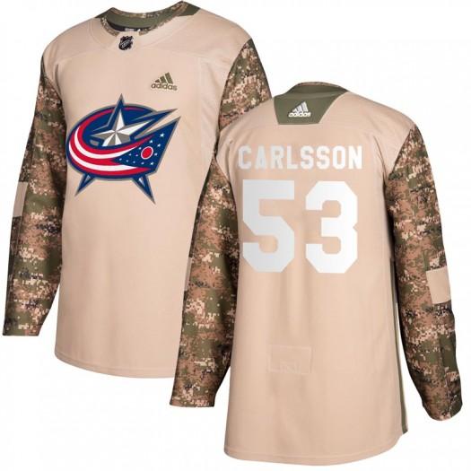 Gabriel Carlsson Columbus Blue Jackets Men's Adidas Authentic Camo Veterans Day Practice Jersey