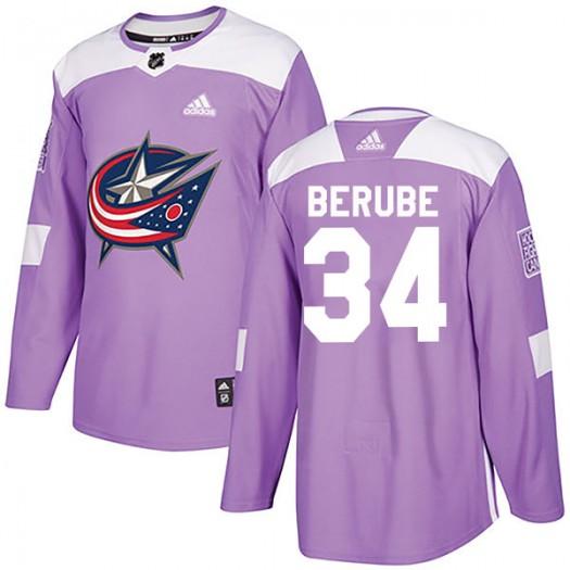 J-F Berube Columbus Blue Jackets Men's Adidas Authentic Purple Fights Cancer Practice Jersey
