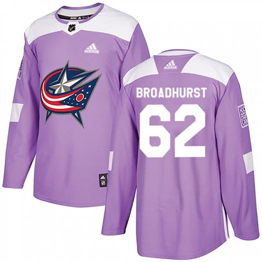 Alex Broadhurst Columbus Blue Jackets Men's Adidas Authentic Purple Fights Cancer Practice Jersey