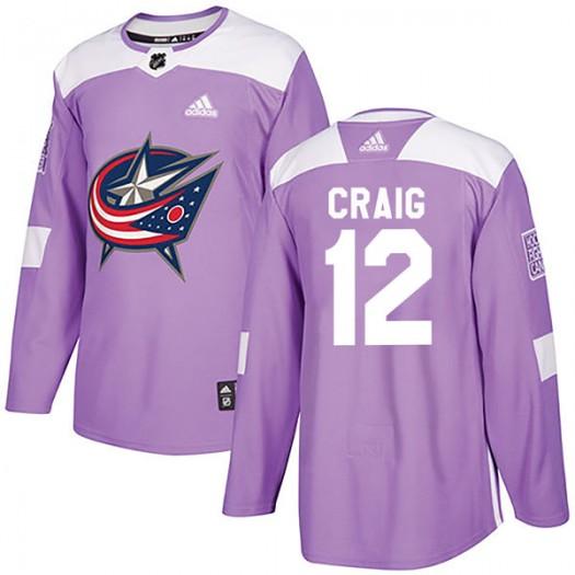 Ryan Craig Columbus Blue Jackets Men's Adidas Authentic Purple Fights Cancer Practice Jersey