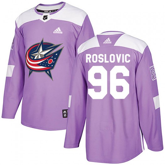 Jack Roslovic Columbus Blue Jackets Men's Adidas Authentic Purple Fights Cancer Practice Jersey