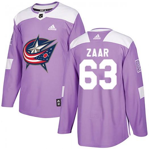 Daniel Zaar Columbus Blue Jackets Men's Adidas Authentic Purple Fights Cancer Practice Jersey