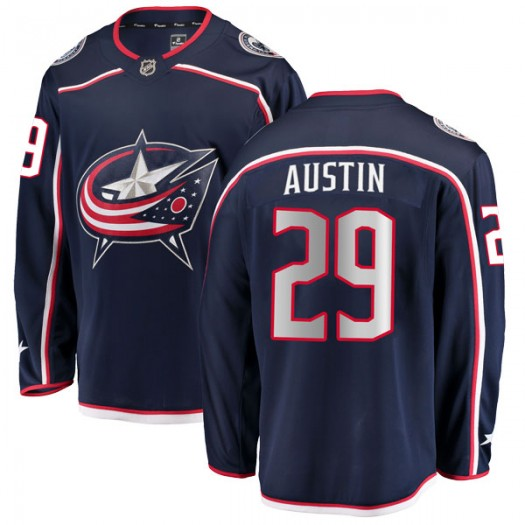 Brady Austin Columbus Blue Jackets Men's Fanatics Branded Navy Breakaway Home Jersey