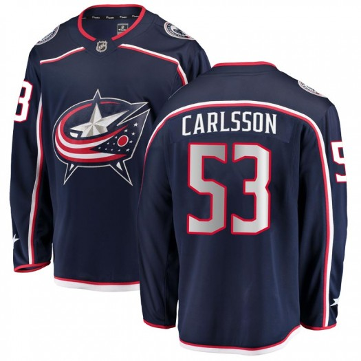 Gabriel Carlsson Columbus Blue Jackets Men's Fanatics Branded Navy Breakaway Home Jersey