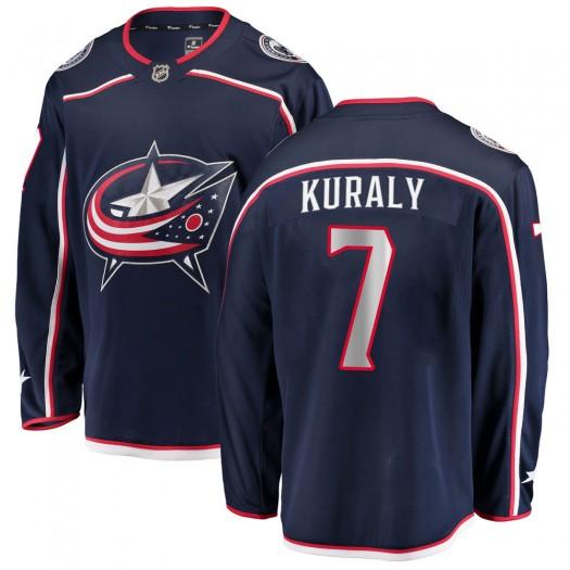 Sean Kuraly Columbus Blue Jackets Men's Fanatics Branded Navy Breakaway Home Jersey