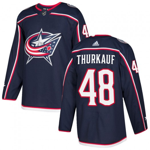 Calvin Thurkauf Columbus Blue Jackets Youth Adidas Authentic Navy Home Jersey