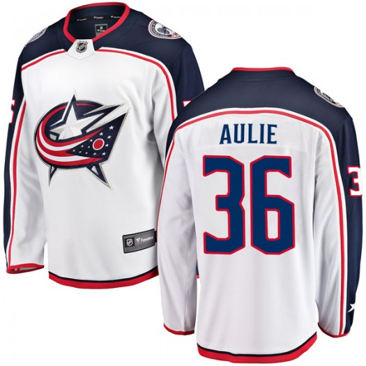 Keith Aulie Columbus Blue Jackets Youth Fanatics Branded White Breakaway Away Jersey