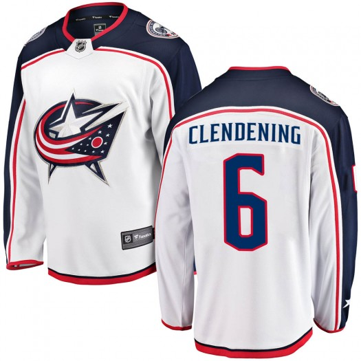Adam Clendening Columbus Blue Jackets Youth Fanatics Branded White Breakaway Away Jersey