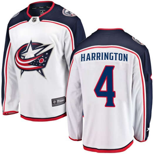 Scott Harrington Columbus Blue Jackets Youth Fanatics Branded White Breakaway Away Jersey