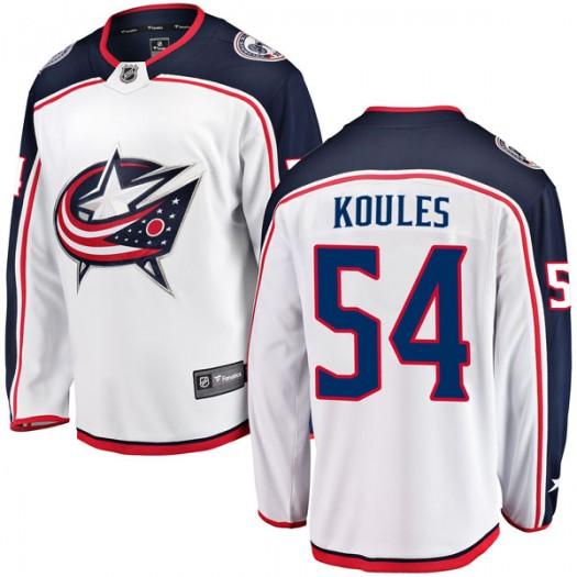 Miles Koules Columbus Blue Jackets Youth Fanatics Branded White Breakaway Away Jersey