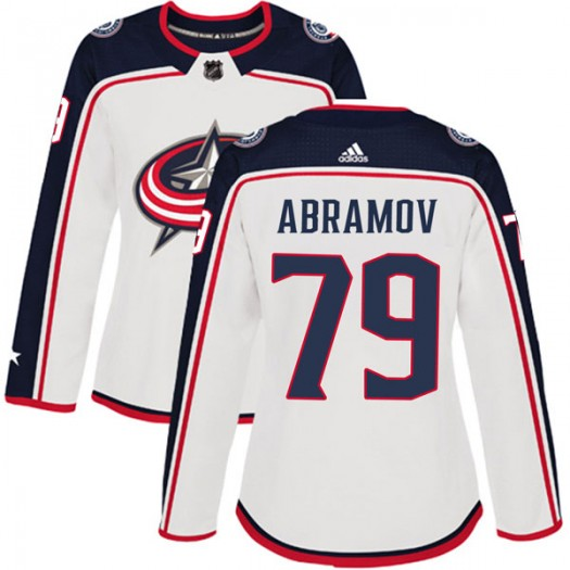 Vitaly Abramov Columbus Blue Jackets Women's Adidas Authentic White Away Jersey
