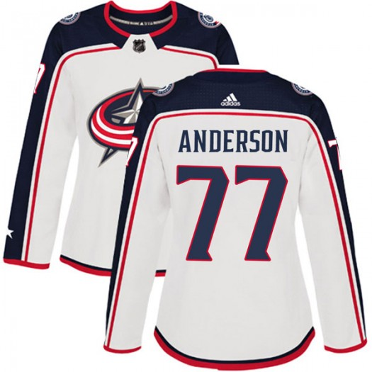 Josh Anderson Columbus Blue Jackets Women's Adidas Authentic White Away Jersey
