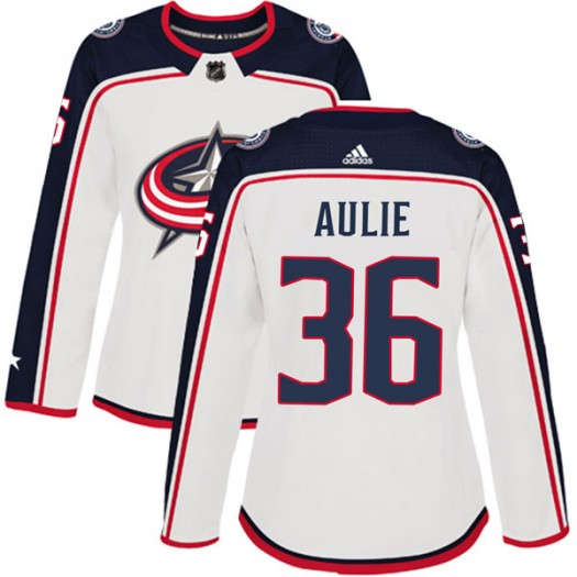 Keith Aulie Columbus Blue Jackets Women's Adidas Authentic White Away Jersey