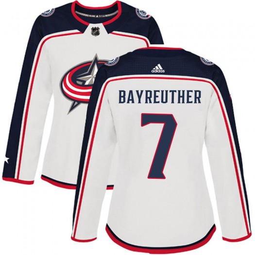 Gavin Bayreuther Columbus Blue Jackets Women's Adidas Authentic White Away Jersey