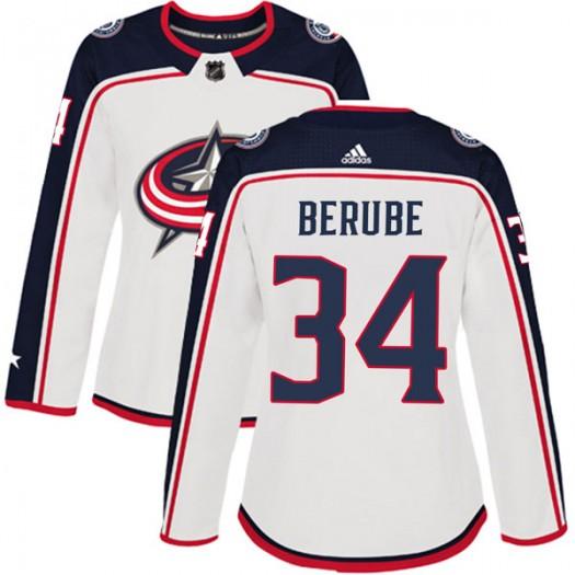 J-F Berube Columbus Blue Jackets Women's Adidas Authentic White Away Jersey