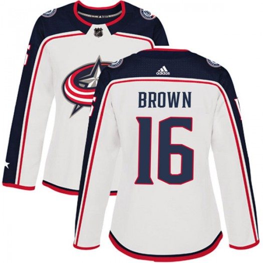 Mike Brown Columbus Blue Jackets Women's Adidas Authentic White Away Jersey