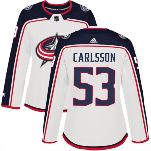 Gabriel Carlsson Columbus Blue Jackets Women's Adidas Authentic White Away Jersey