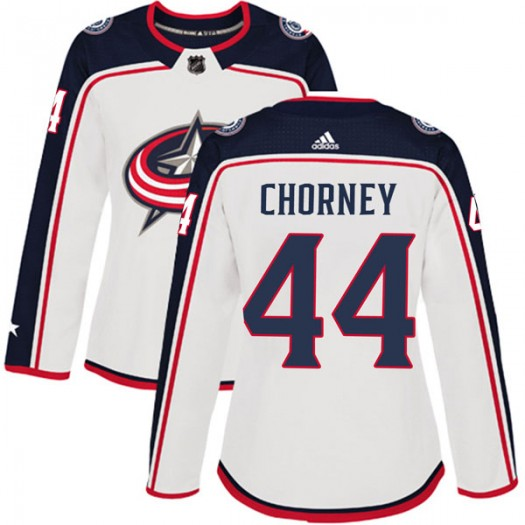 Taylor Chorney Columbus Blue Jackets Women's Adidas Authentic White Away Jersey
