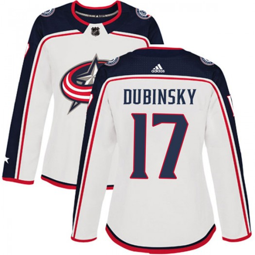 Brandon Dubinsky Columbus Blue Jackets Women's Adidas Authentic White Away Jersey