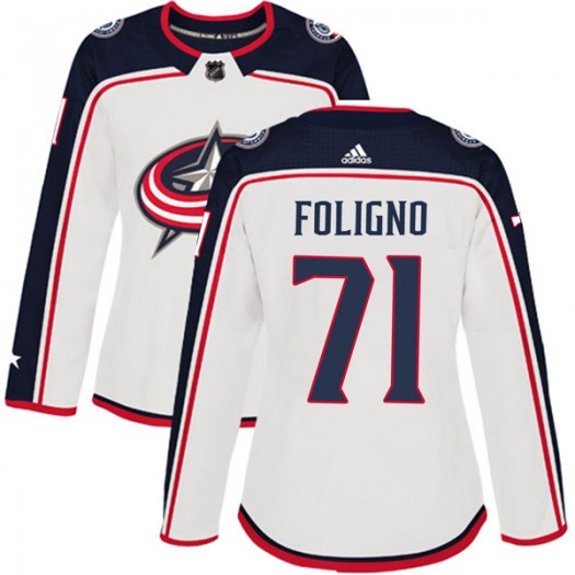Nick Foligno Columbus Blue Jackets Women's Adidas Authentic White Away Jersey
