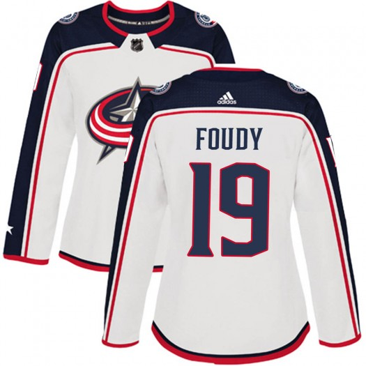 Liam Foudy Columbus Blue Jackets Women's Adidas Authentic White ized Away Jersey