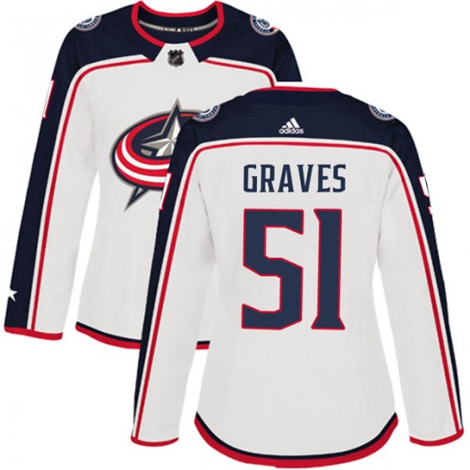 Jacob Graves Columbus Blue Jackets Women's Adidas Authentic White Away Jersey