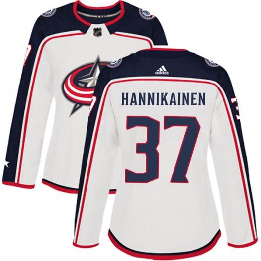 Markus Hannikainen Columbus Blue Jackets Women's Adidas Authentic White Away Jersey