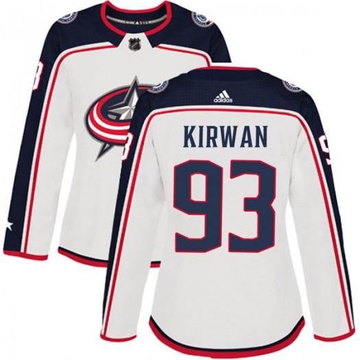 Luke Kirwan Columbus Blue Jackets Women's Adidas Authentic White Away Jersey
