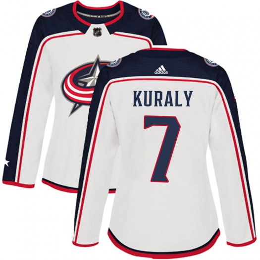 Sean Kuraly Columbus Blue Jackets Women's Adidas Authentic White Away Jersey