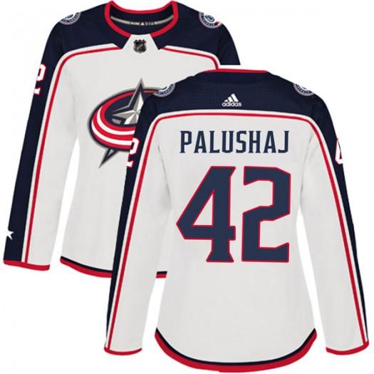 Aaron Palushaj Columbus Blue Jackets Women's Adidas Authentic White Away Jersey