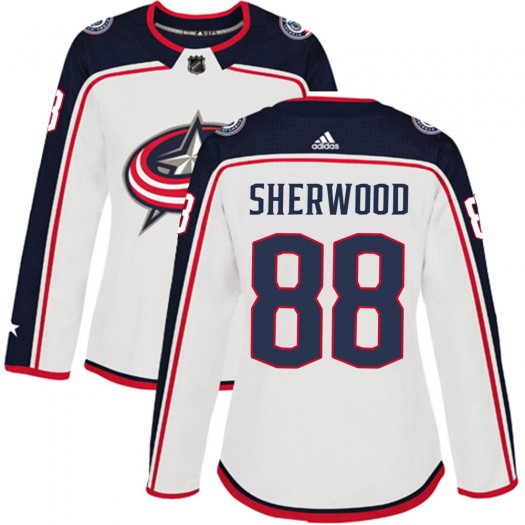 Kole Sherwood Columbus Blue Jackets Women's Adidas Authentic White Away Jersey
