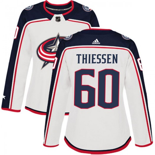Brad Thiessen Columbus Blue Jackets Women's Adidas Authentic White Away Jersey