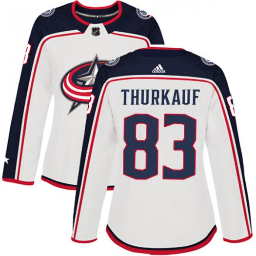 Calvin Thurkauf Columbus Blue Jackets Women's Adidas Authentic White Away Jersey