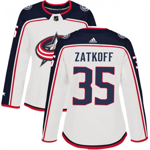 Jeff Zatkoff Columbus Blue Jackets Women's Adidas Authentic White Away Jersey
